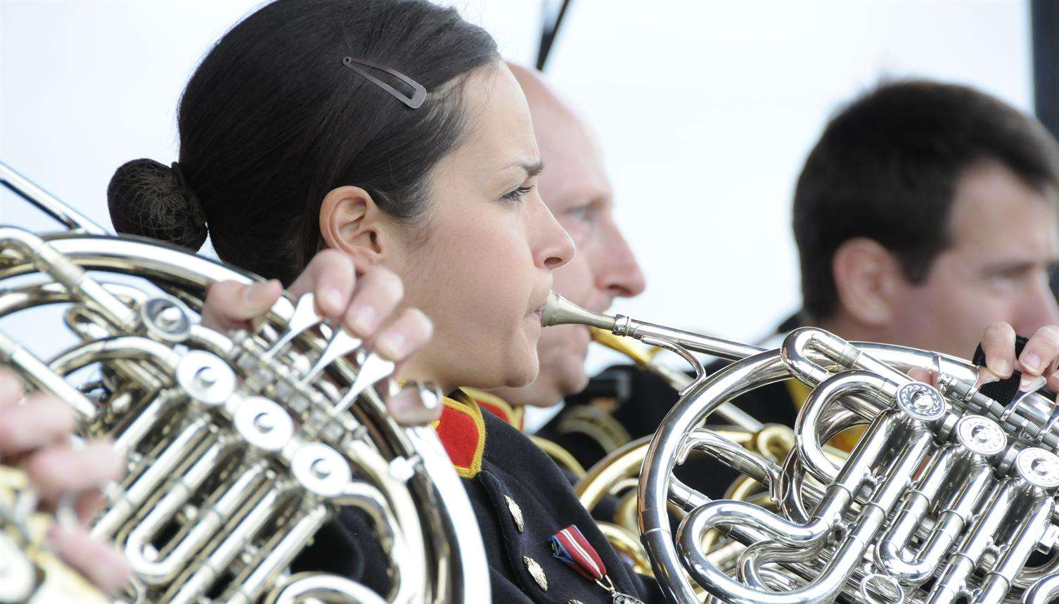 The Royal Marines band performing at Walmer bandstand