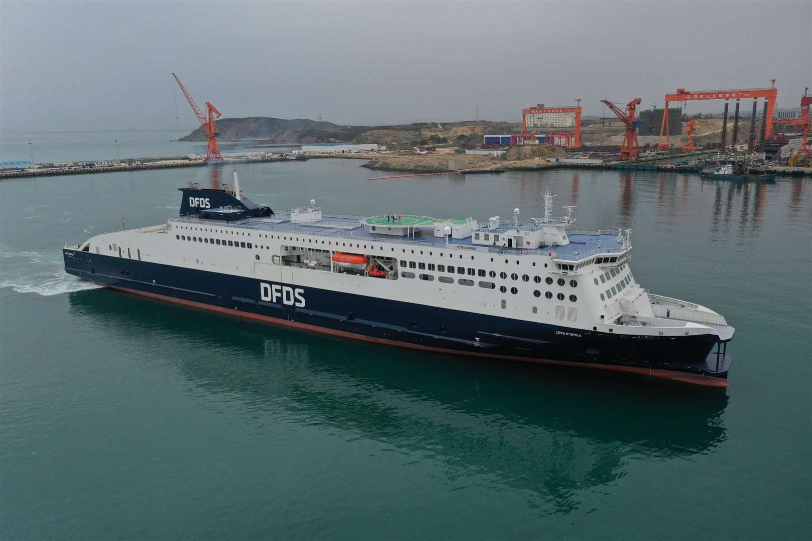 The new DFDS Côte d'Opale ferry left the Weihei shipyard in China on Thursday