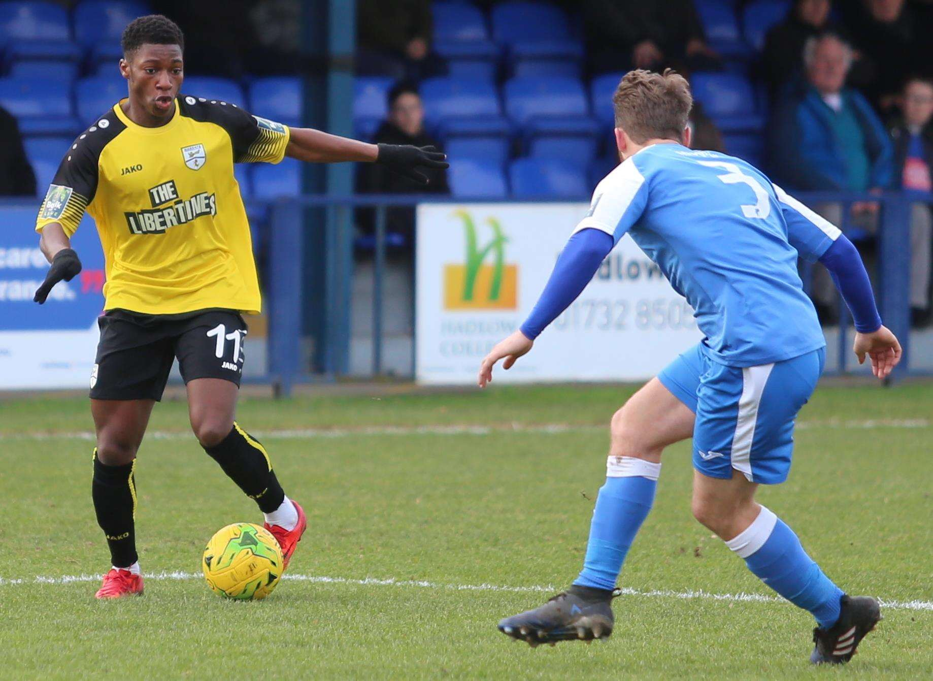 Margate's Joseph Hungbo on the ball agaisnt Tonbridge. Picture: Don Walker