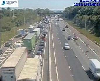 A crash is causing delays on the M20 coast bound between J3 and J4. Picture: Highways England
