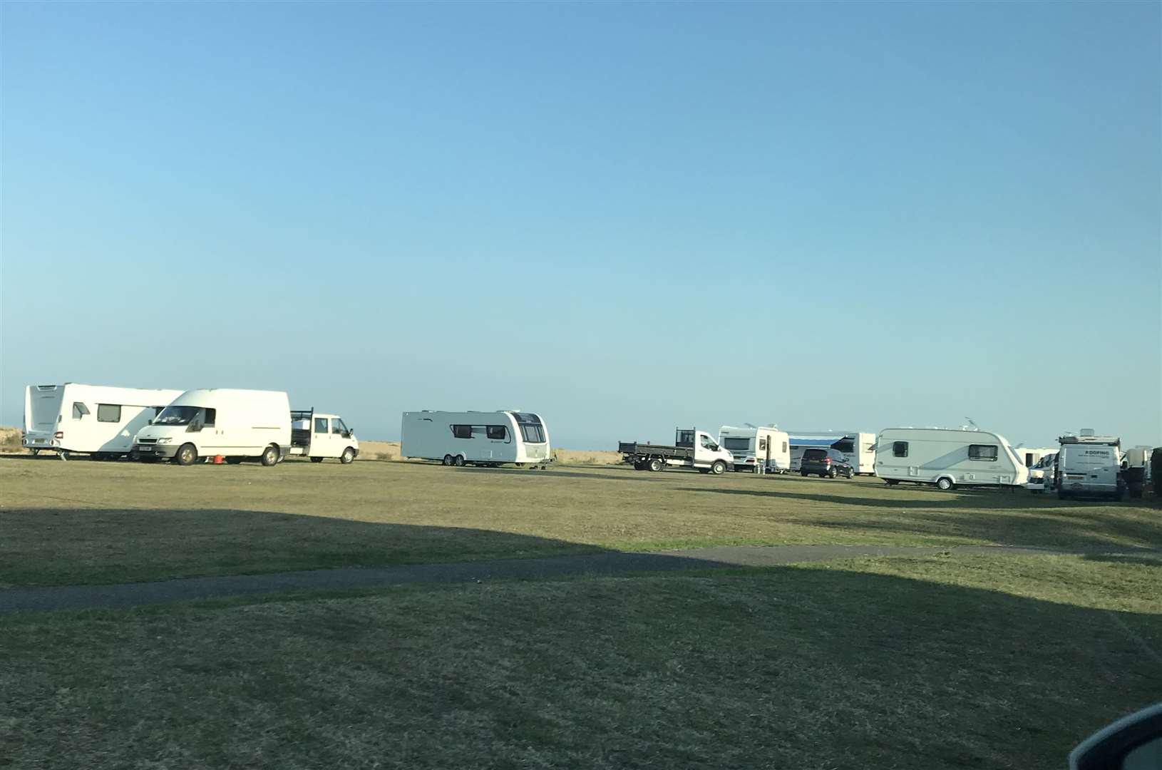 Travellers have moved onto part of Walmer Green in Kingsdown Road
