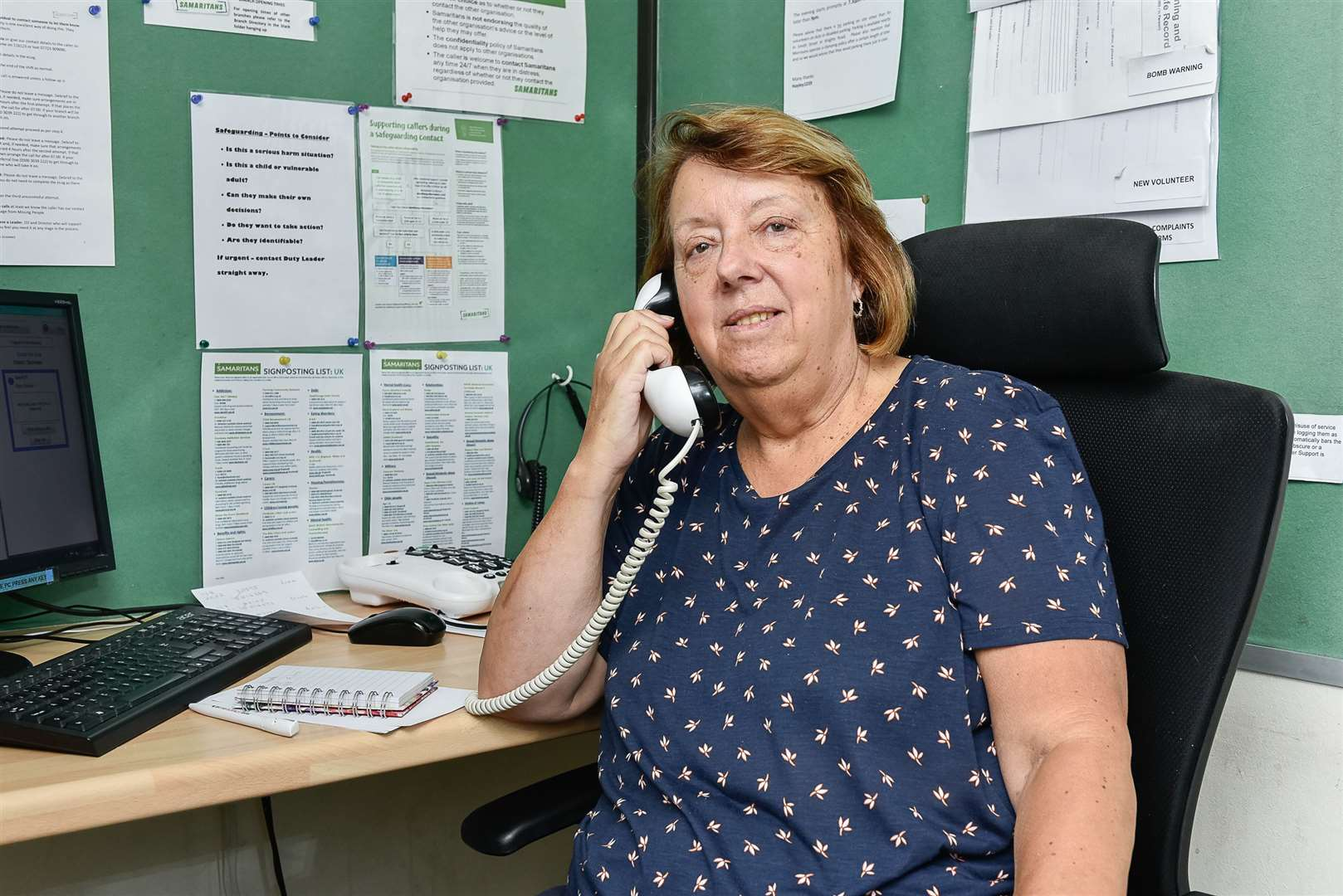 Samaritans volunteer, Sue Giblin, on the telephone at The Samaritans offices in Strood. Picture: Tony Jones (15193632)