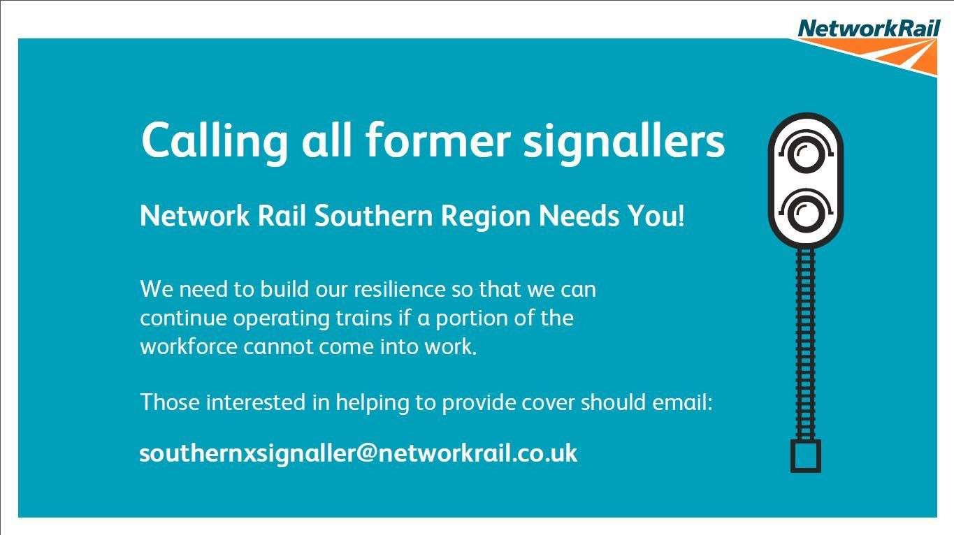 Network Rail is appealing for professional signallers to come forward