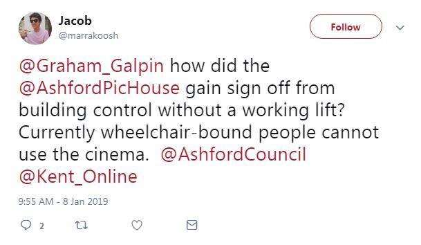One user reached out to Ashford Borough Council (6413970)