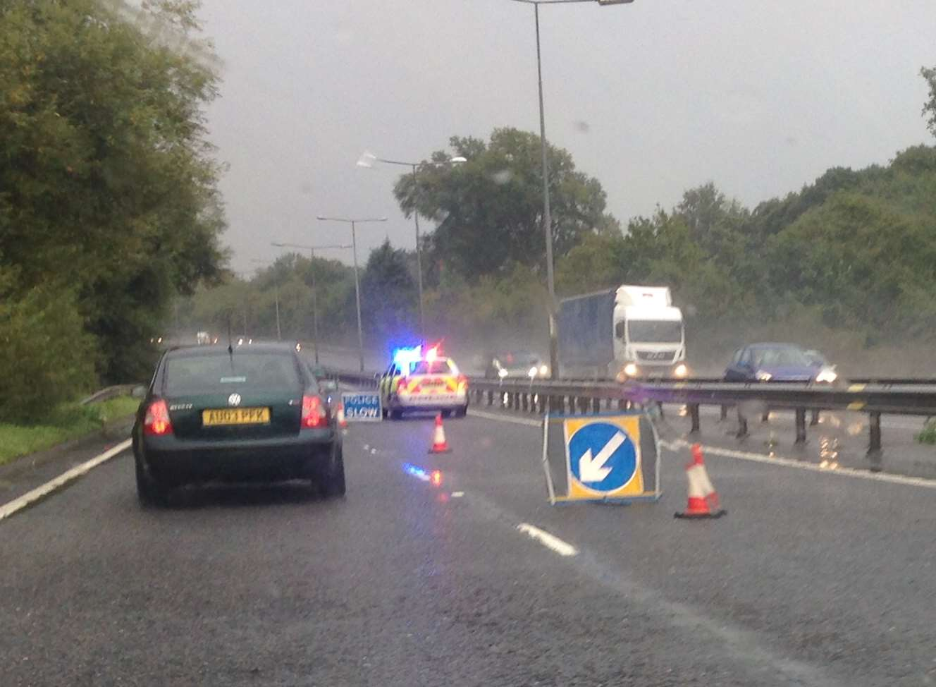 Police slow down traffic on the Thanet Way following crash