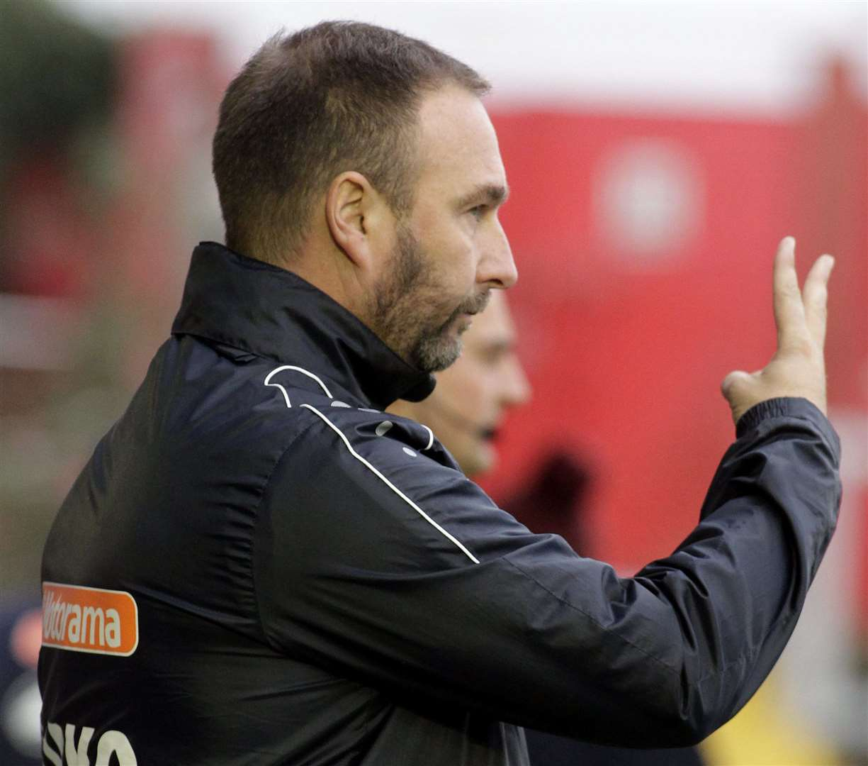 Ebbsfleet boss Kevin Watson gives out his instructions. Picture: Sean Aidan FM21792439