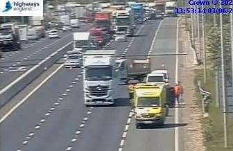 A crash is causing delays on the M20 coast bound between J3 for the M26 and J4. Picture: Highways England