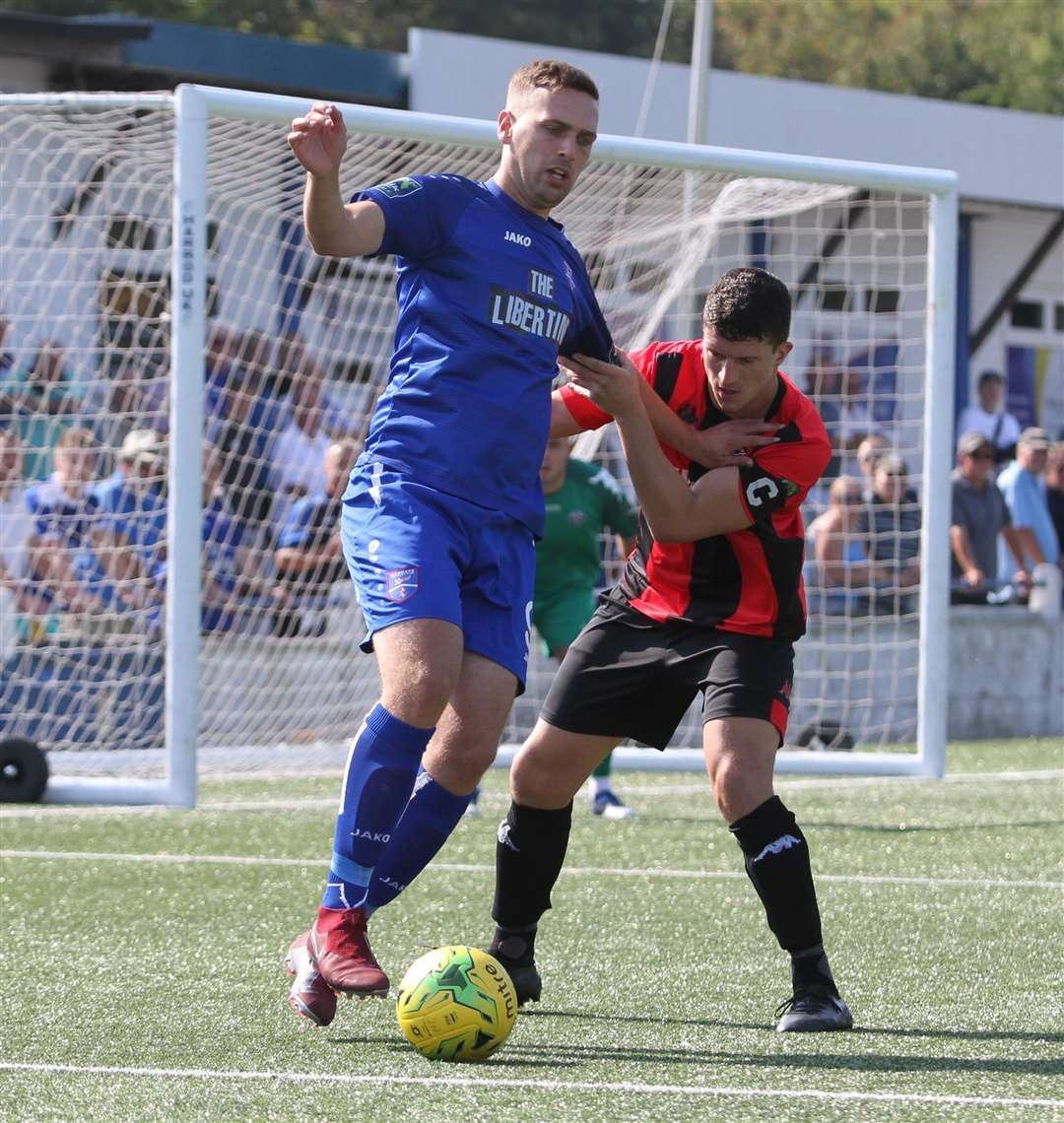 Margate striker Joe Taylor scored twice against Horndean Picture: Don Walker