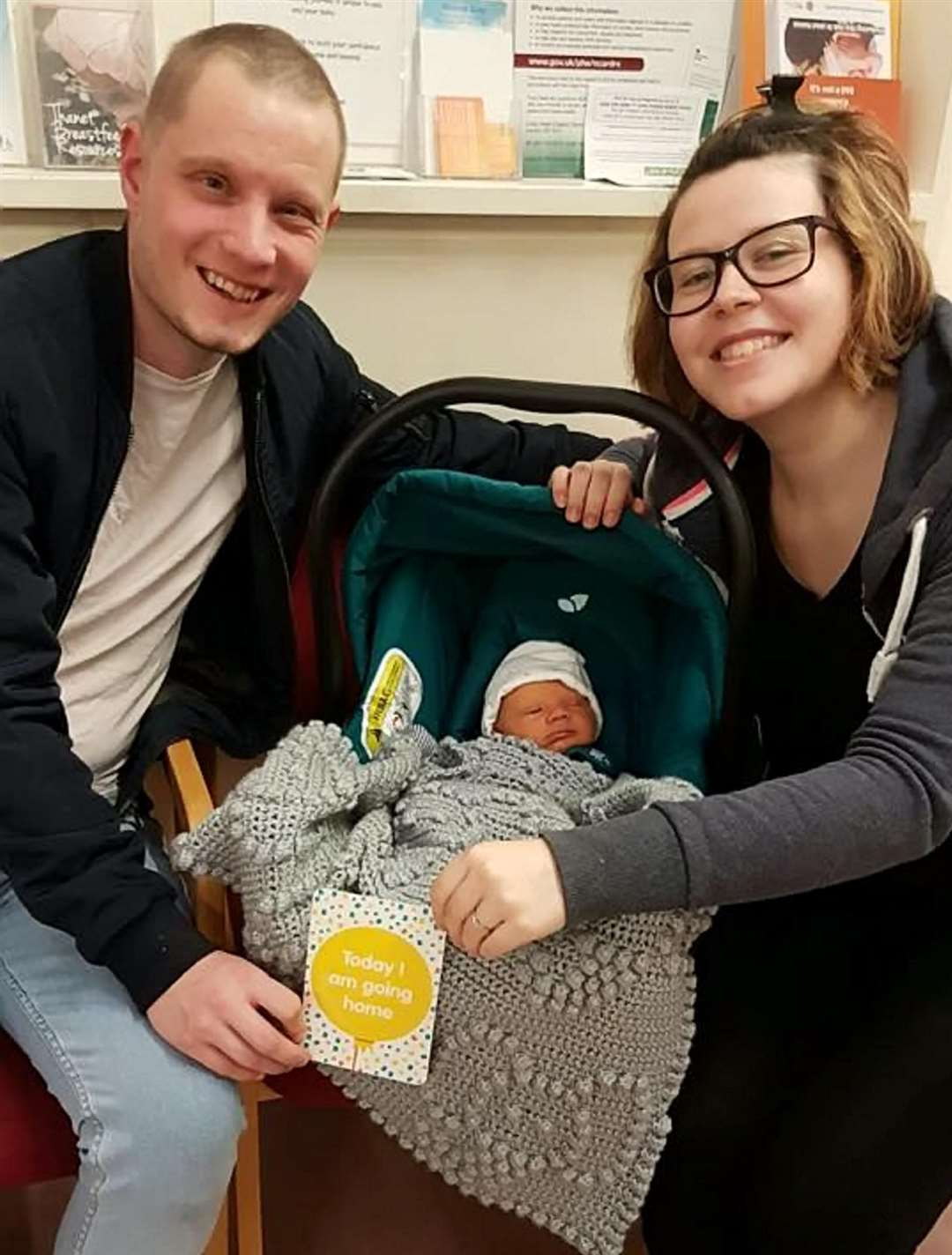 Simon Thompson and Maxine Campbell with baby Mateo. Picture: SWNS