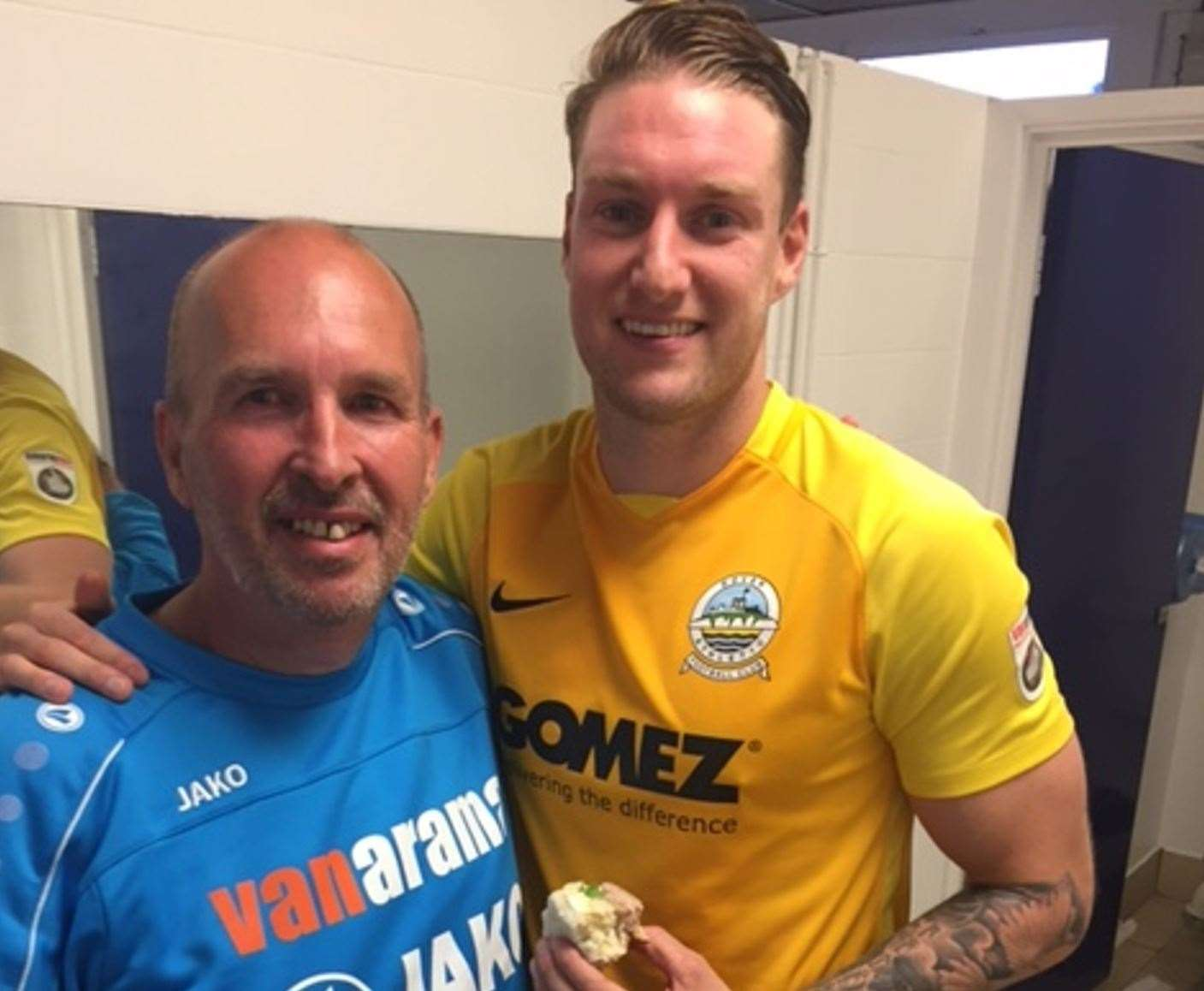 Dover kit man Richard Harvey (left) with Ryan Bird after their win at Tranmere in 2018/19