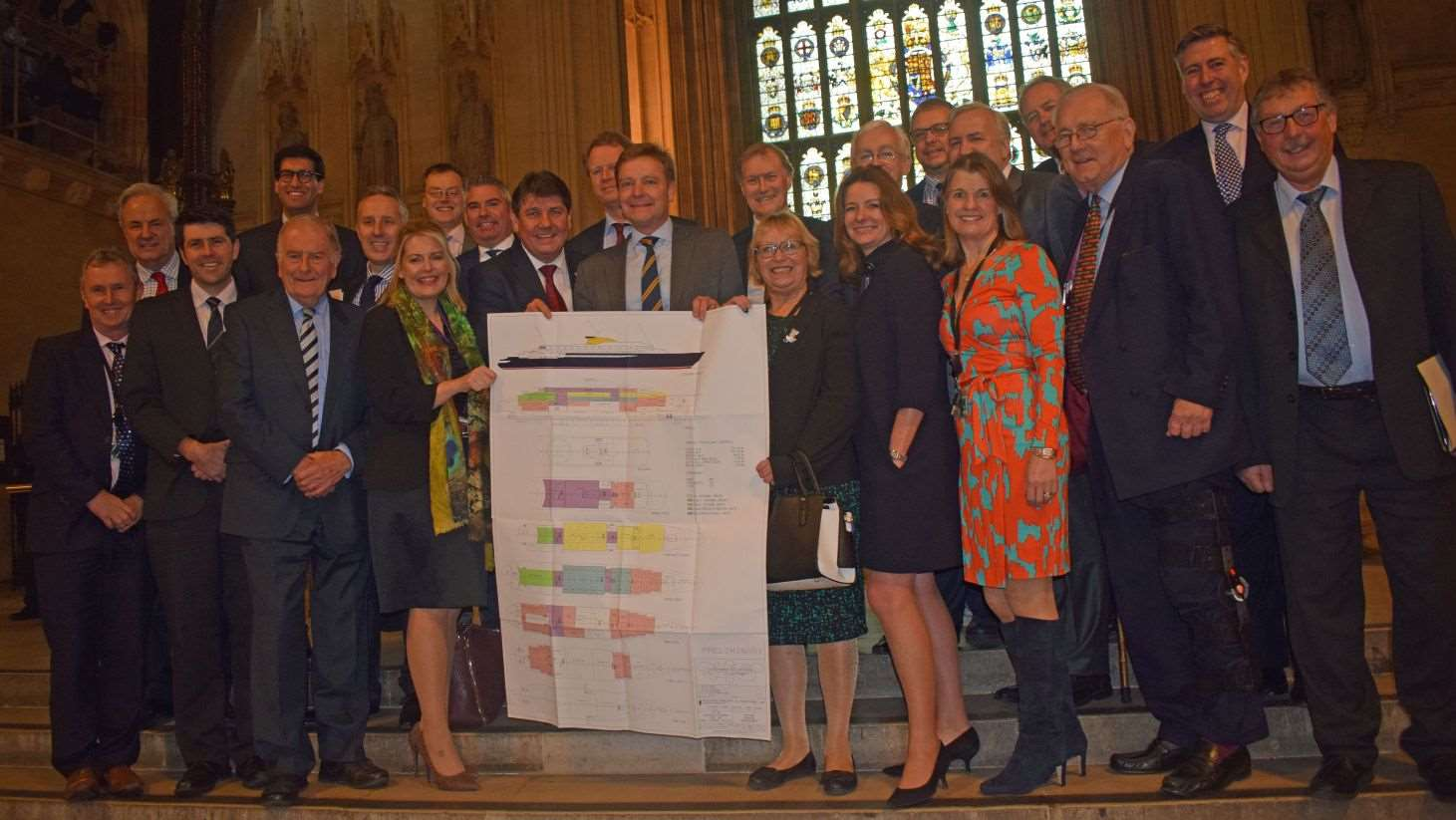 Photo-call of MPs in Westminster Hall with the plans for a new yacht
