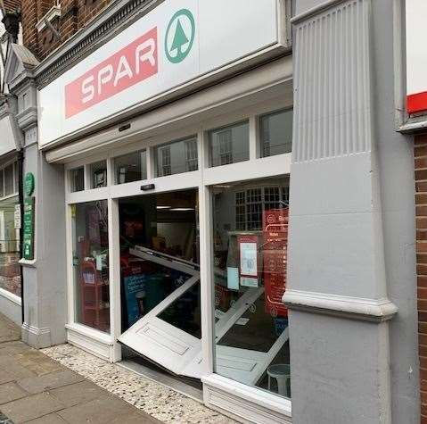 The flooded Spar in Market Street, Sandwich, was also broken into last month. Picture: David Wood