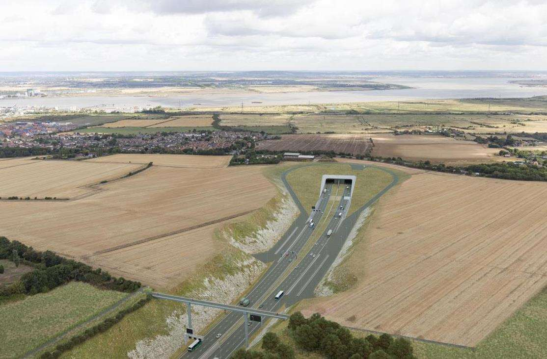 The southern portal of the Lower Thames Crossing, in Kent, will look