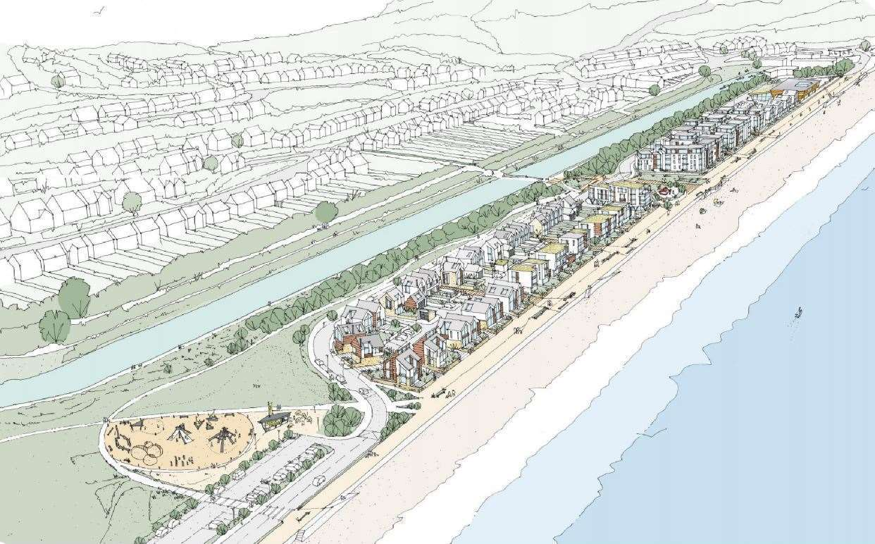 Aerial sketch view of how the Princes Parade development could look