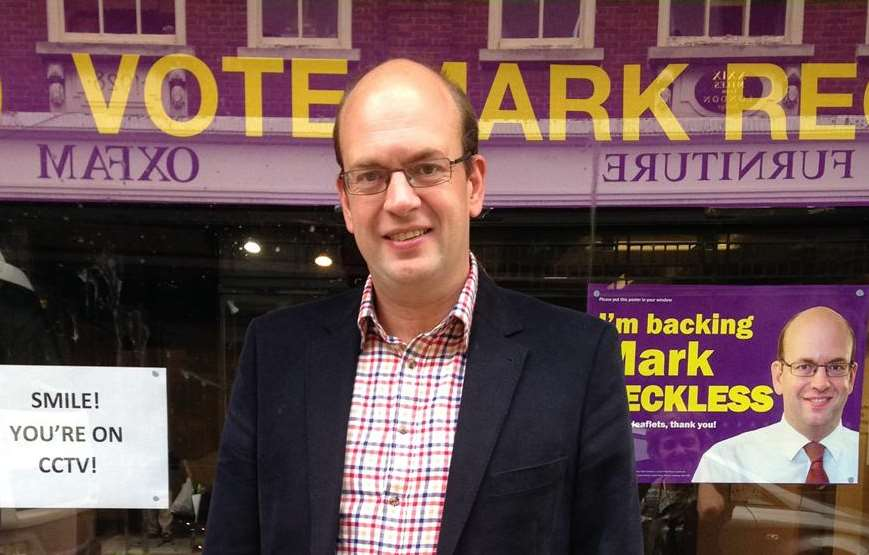 Mark Reckless, pictured outside his pop-up Ukip office in Rochester High Street
