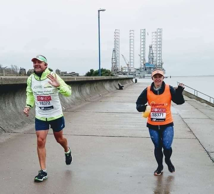 Sheppey's London Marathon virtual runners John and Steph Gill on the seafront at Sheerness