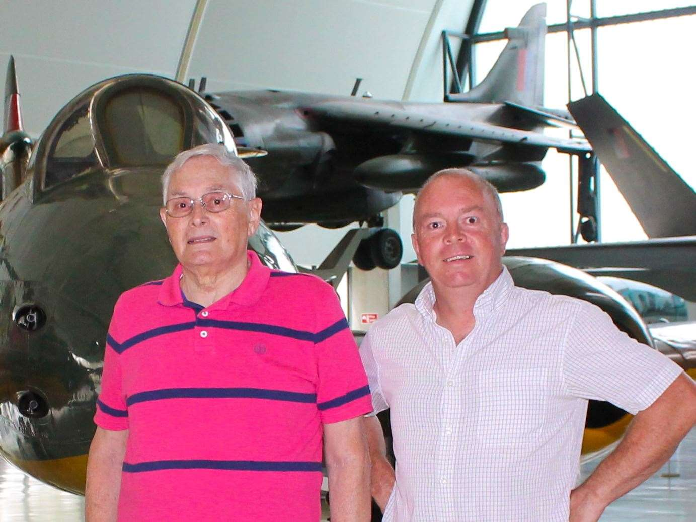 Former RAF technician Terry Pickett (left) with son Chris