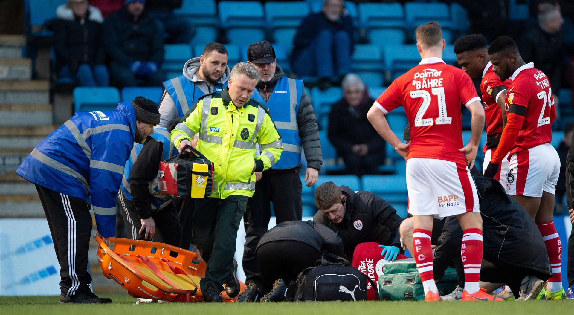 Concern for Tykes striker Kieffer Moore, who was taken to hospital after colliding with Gabriel Zakuani Picture: Ady Kerry