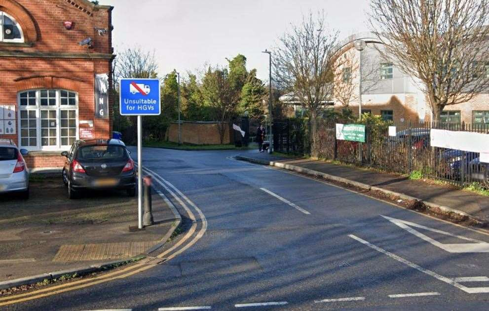 A sign in Honeysuckle Road which states the road is unsuitable for HGVs, captured in December. Picture: Google Street View
