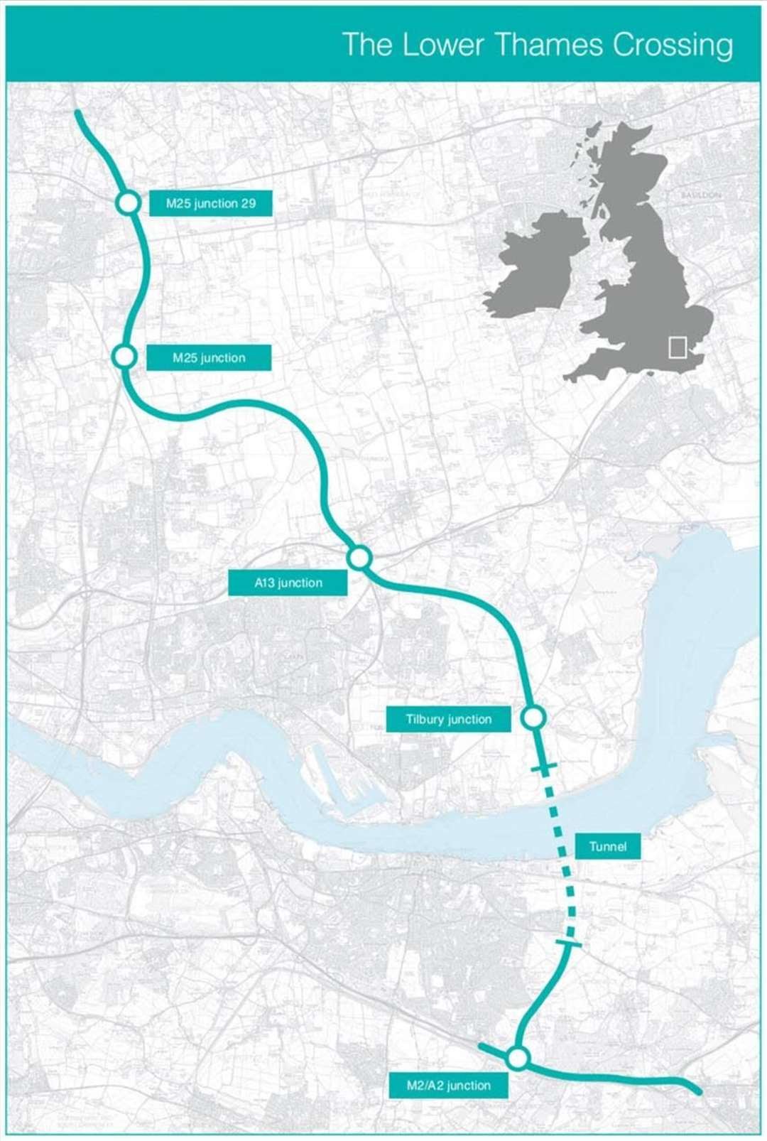 The latest proposed route of the new Lower Thames Crossing