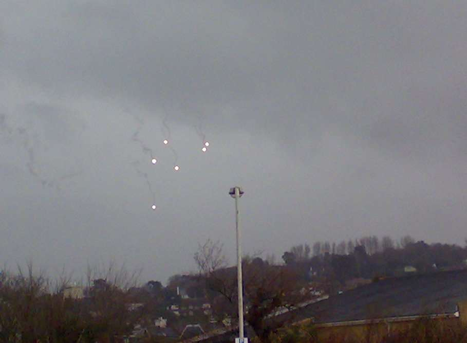 The lights in the sky, thought to be flares, although the MOD say none were being used in the area. Picture: Fred Parker