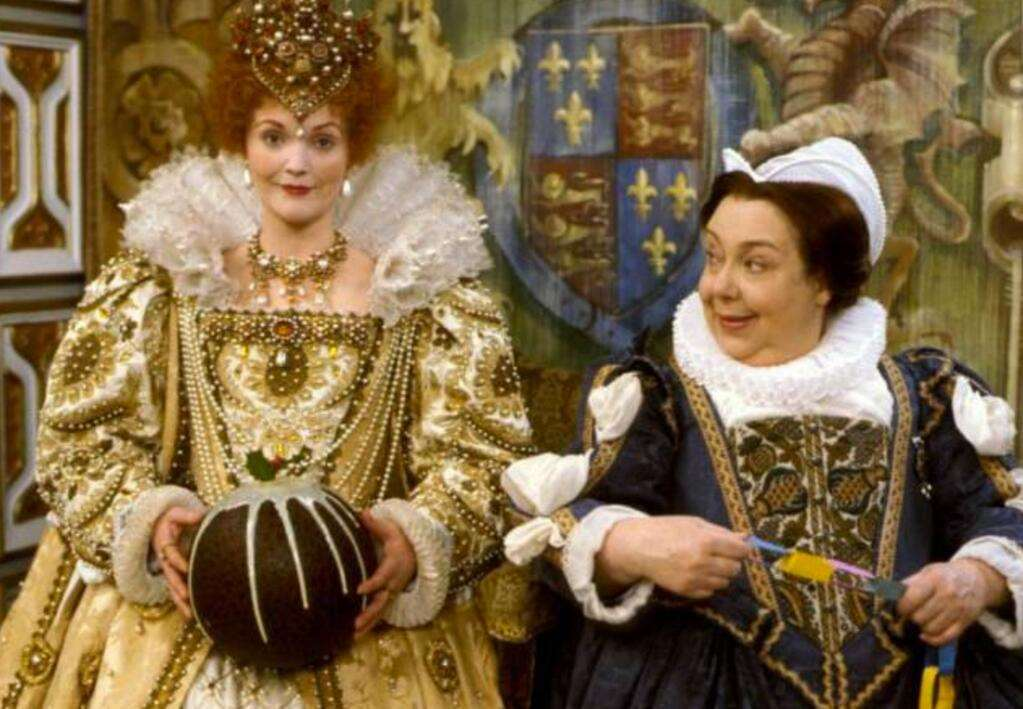 Patsy Byrne, right, in her role as Nursie in Blackadder, with Miranda Richardson, who played Queen Elizabeth I