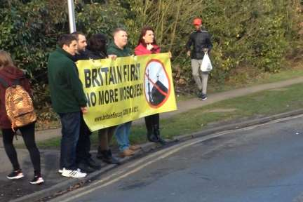 Britain First protesters outside Canterbury Mosque last Sunday.
