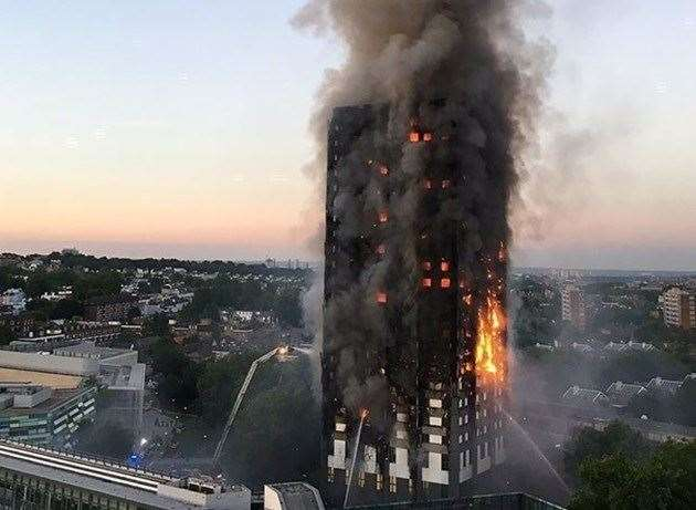 Grenfell Tower on fire in 2017