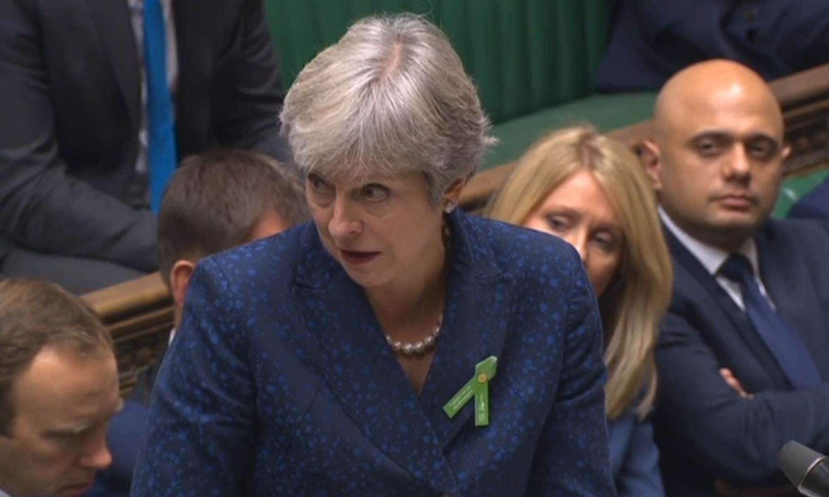 Theresa May discusses county lines during Prime Minister's Questions. Picture supplied by the office of Charlie Elphicke MP