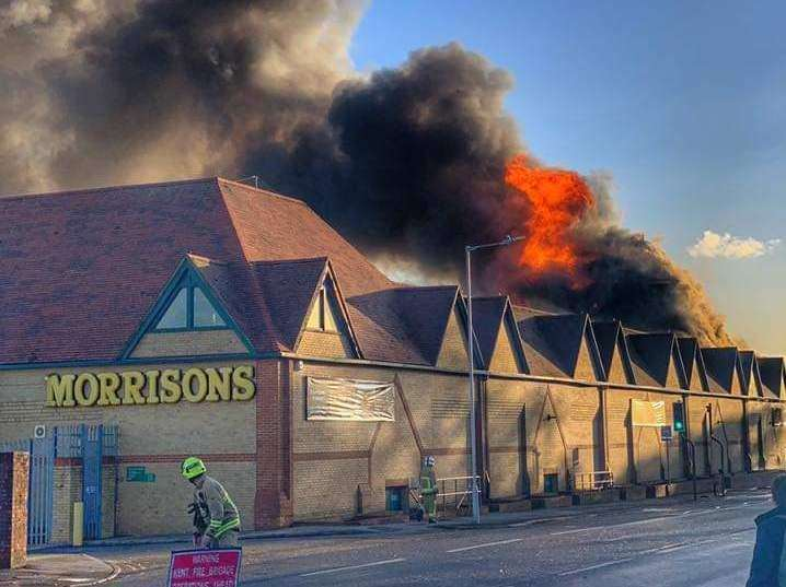The Morrisons supermarket in Folkestone is on fire. Picture: Ross Povey