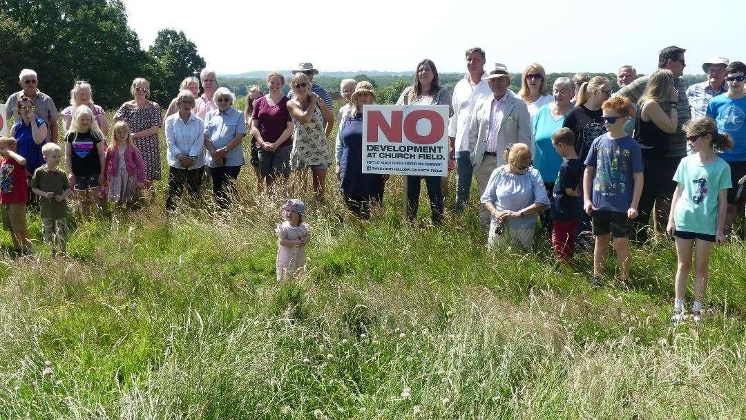 Villagers in High Halden are opposing a housing development near the church (13225726)