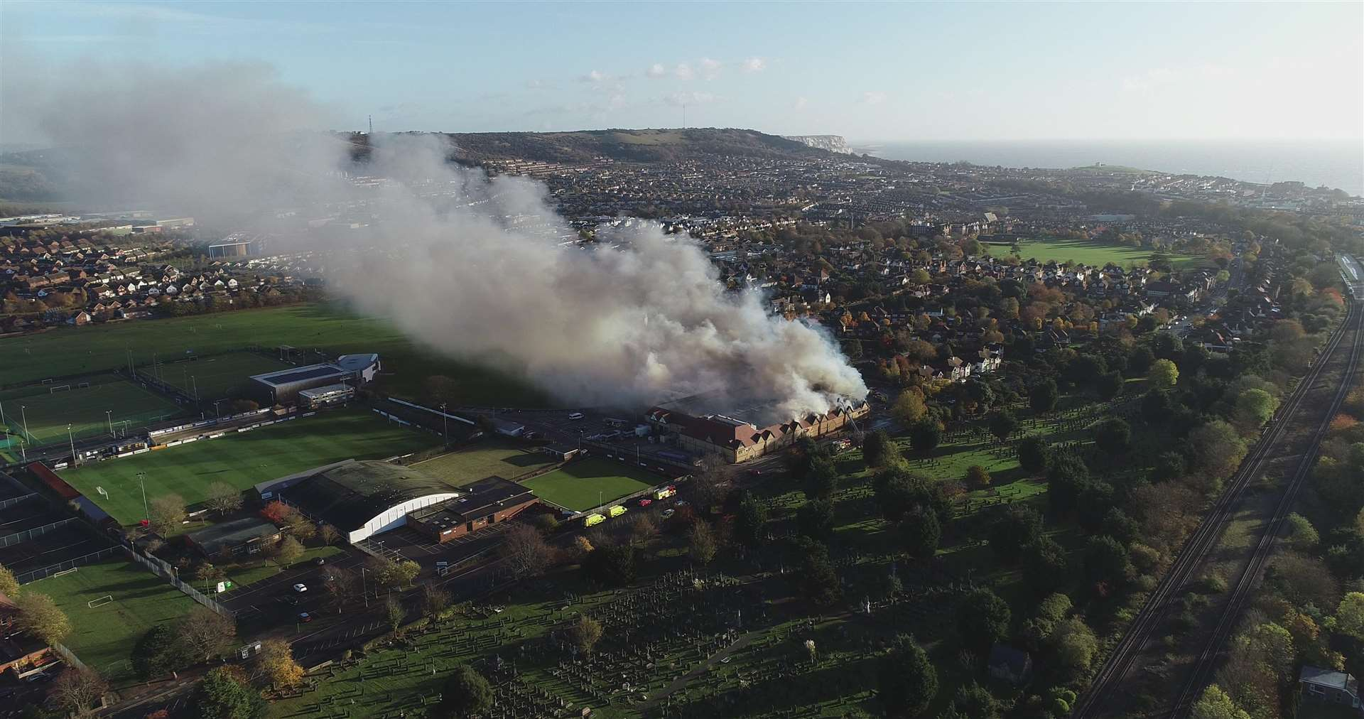 Drone images show the extent of the fire. Picture: Ollie King
