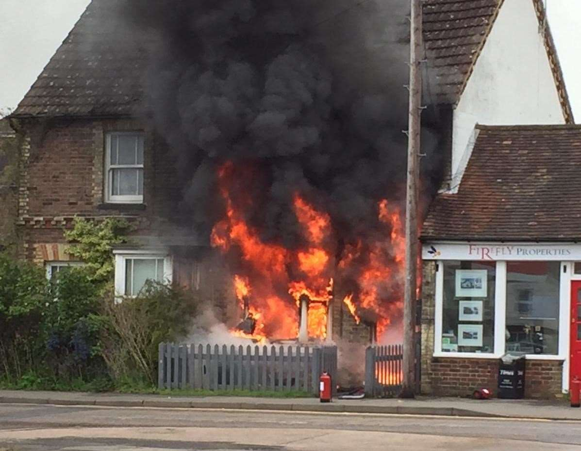 Flats in Paddock Wood were ravaged by flames Picture: Jordan Excell