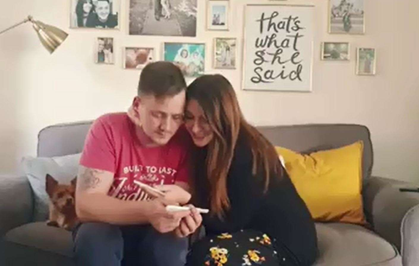 The couple show the heart-warming moment they find out they are expecting. Picture taken from video posted by Hannah (12217431)