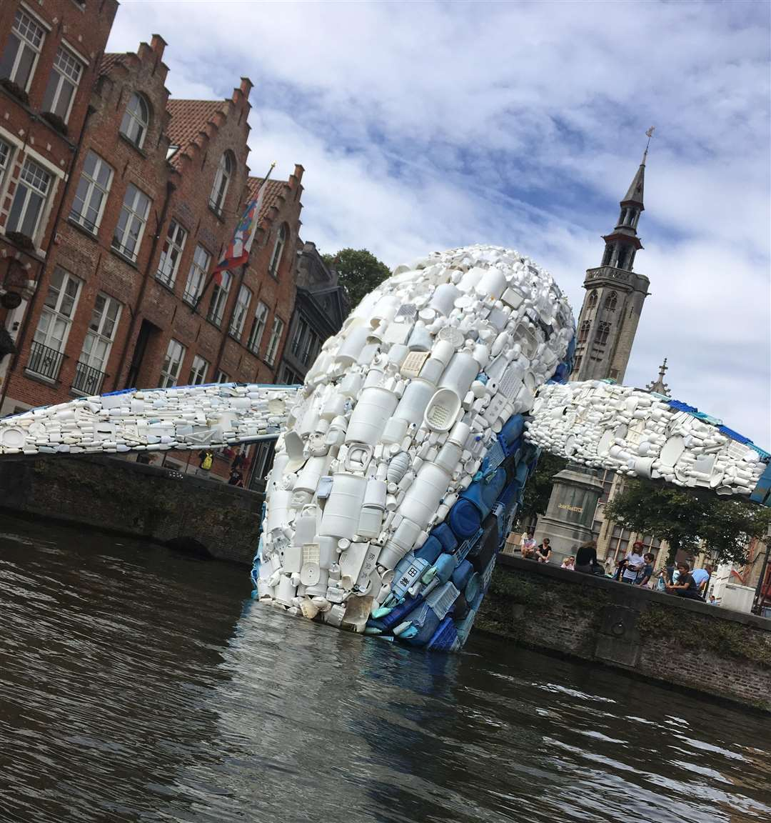 The plastic whale was part of the Triennial installations dotted around Bruges