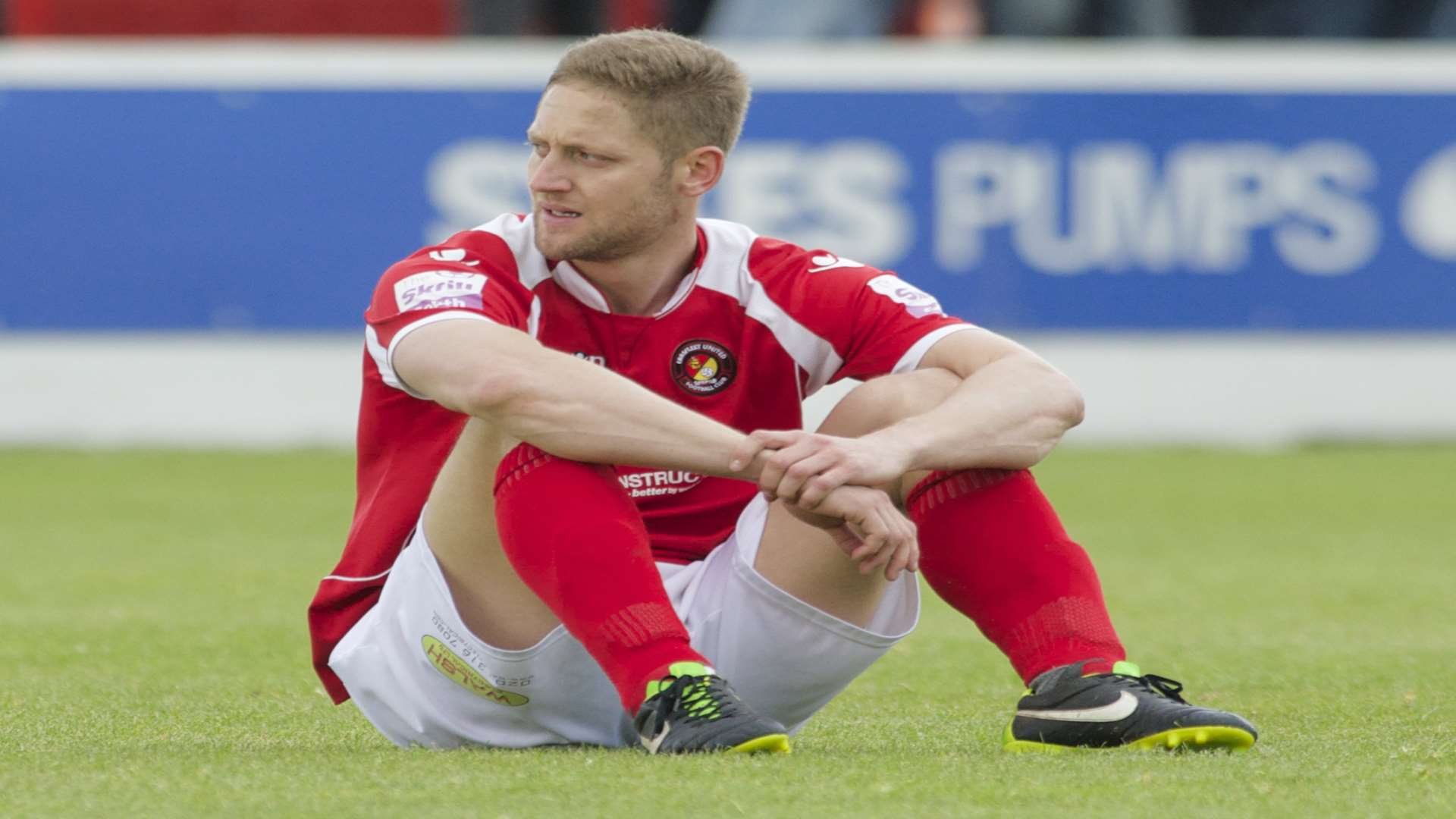 A dejected Ben May after Ebbsfleet's defeat in the play-off final Picture: Andy Payton