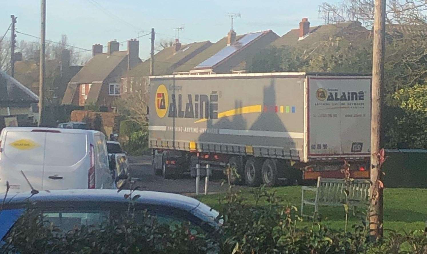 Before the chaos yesterday evening, HGVs continued to head into the village during the day. Picture: Kate Agrell