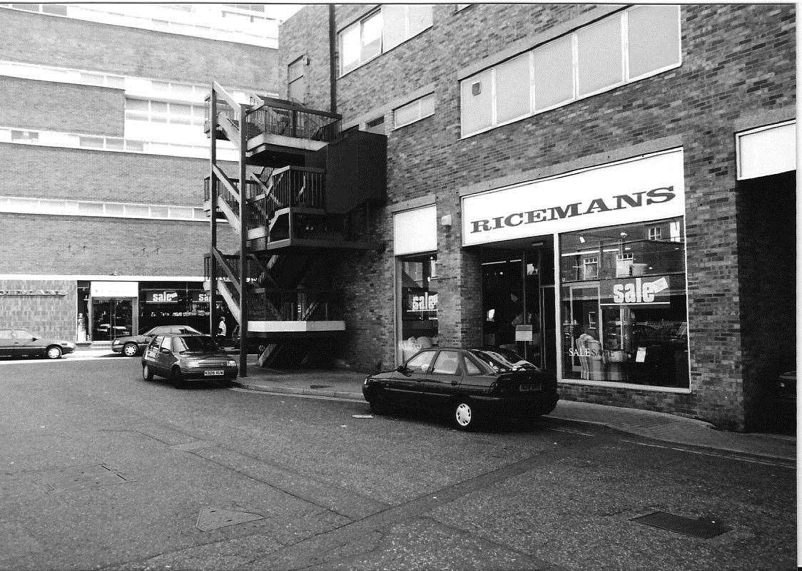 Taken in 1997, the photo shows the back of the Riceman's store in Canterbury. Copyright: Unknown