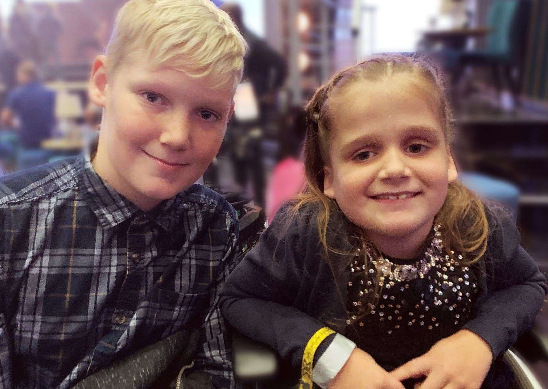 Hallie Robb with her brother Logan, 11. Pic: Meg Janes