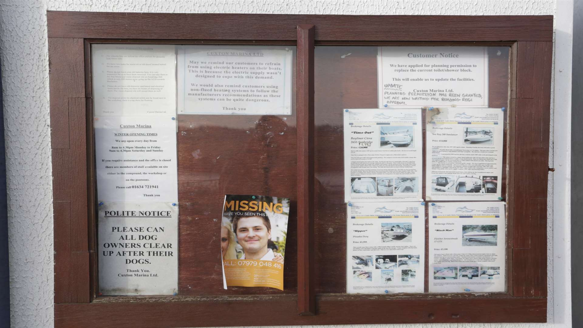 The noticeboard at Cuxton Marina displayed a poster appealing for information after Pat Lamb's disappearance.
