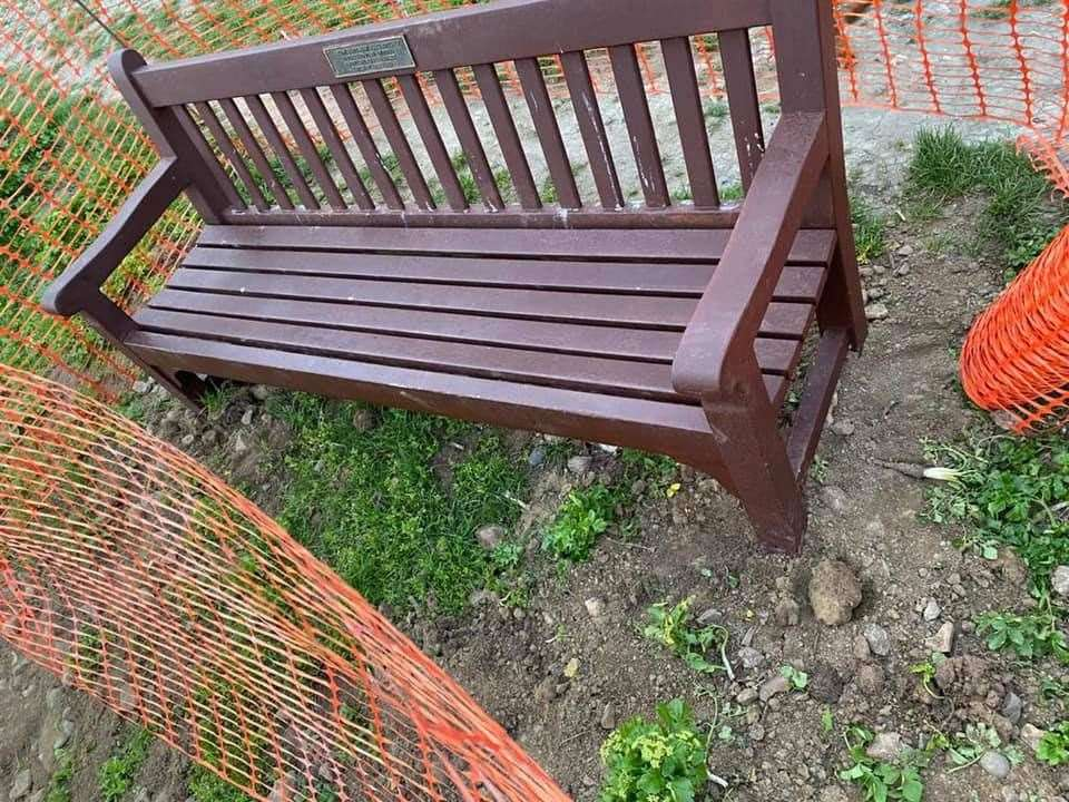 The memorial bench in its new spot. Picture: Linda Ritchie