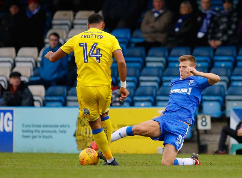 Jake Hessenthaler gets in a challenge for Gills Picture: Andy Jones