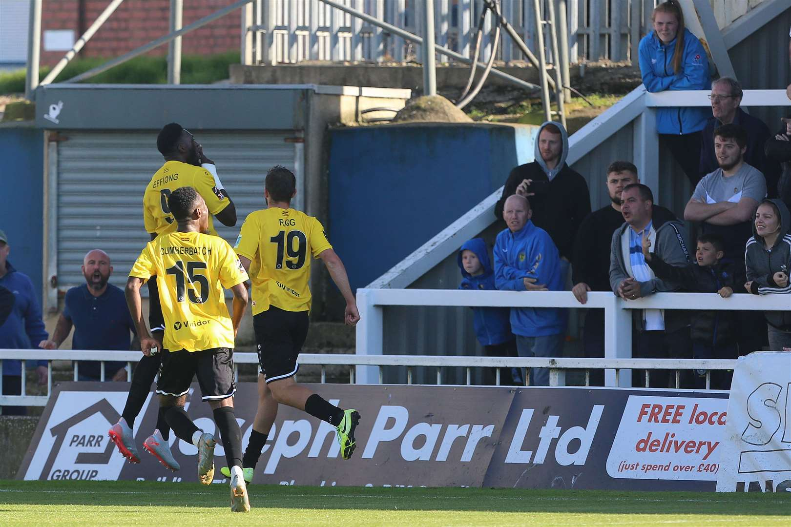 Dover's Inih Effiong celebrates after scoring from the penalty spot at Hartlepool in September 2019. Picture: Mark Fletcher