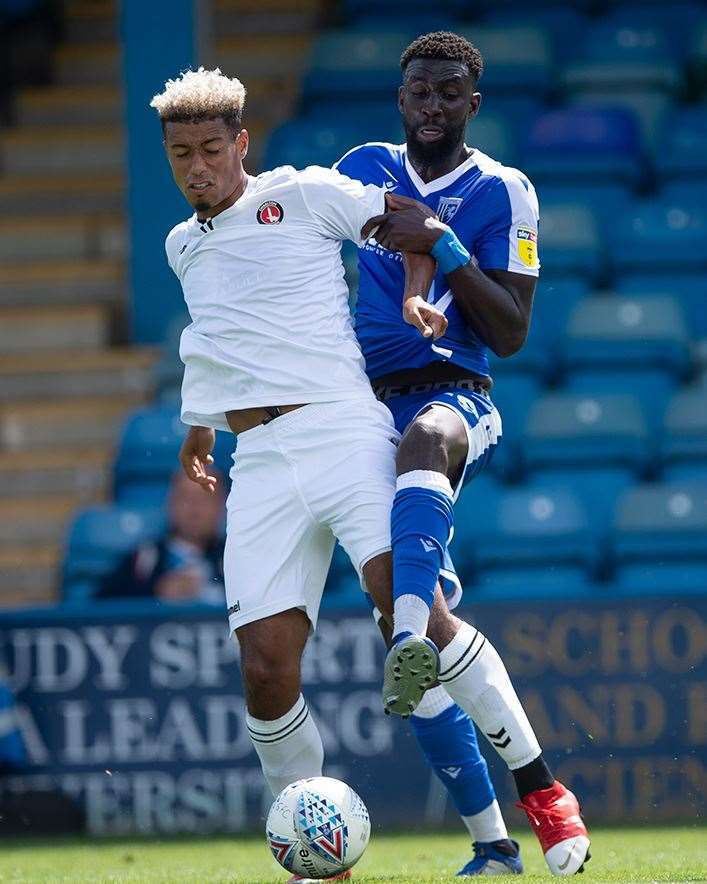 Charlton's Lyle Taylor is put under pressure Picture: Ady Kerry (14058443)