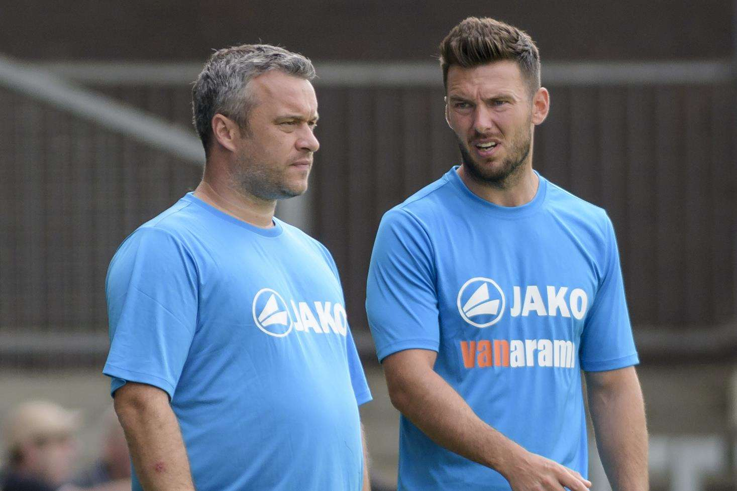 Dartford managers Adam Flanagan, left, and Jamie Coyle. Picture: Andy Payton
