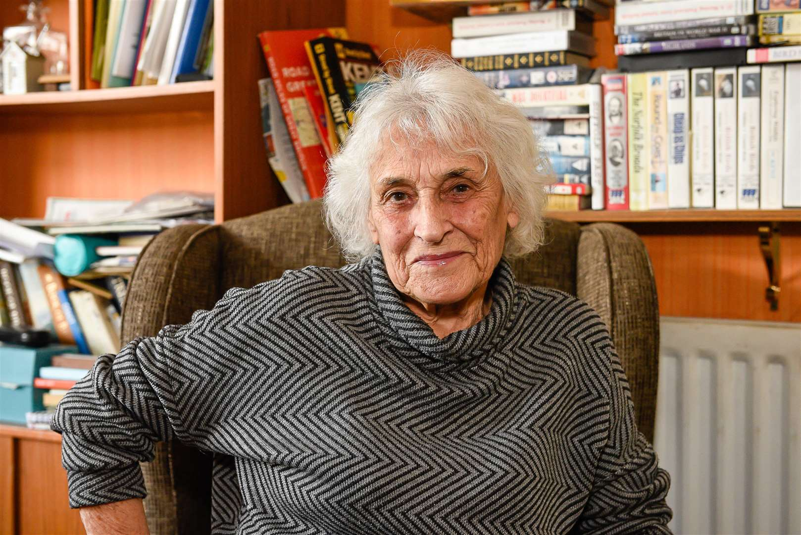 75th anniversary of the summer of the doodlebugs - June Mackenzie, 91, remembers them flying over Herne Bay when she was a teenager. 88 Central Avenue, Herne Bay CT6 8RU. 040519 Picture: Alan Langley..... (9651690)