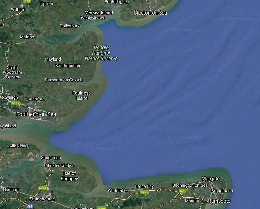 Tizard Bank, where Amy was seen parachuting from her plane, is located near the centre of this map. Picture: Google