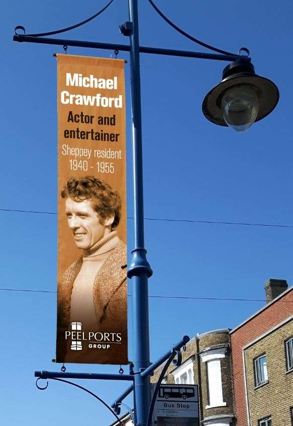 Suggested banner to celebrate 'Sons of Sheppey' in Sheerness High Street - this one is entertainer Michael Crawford