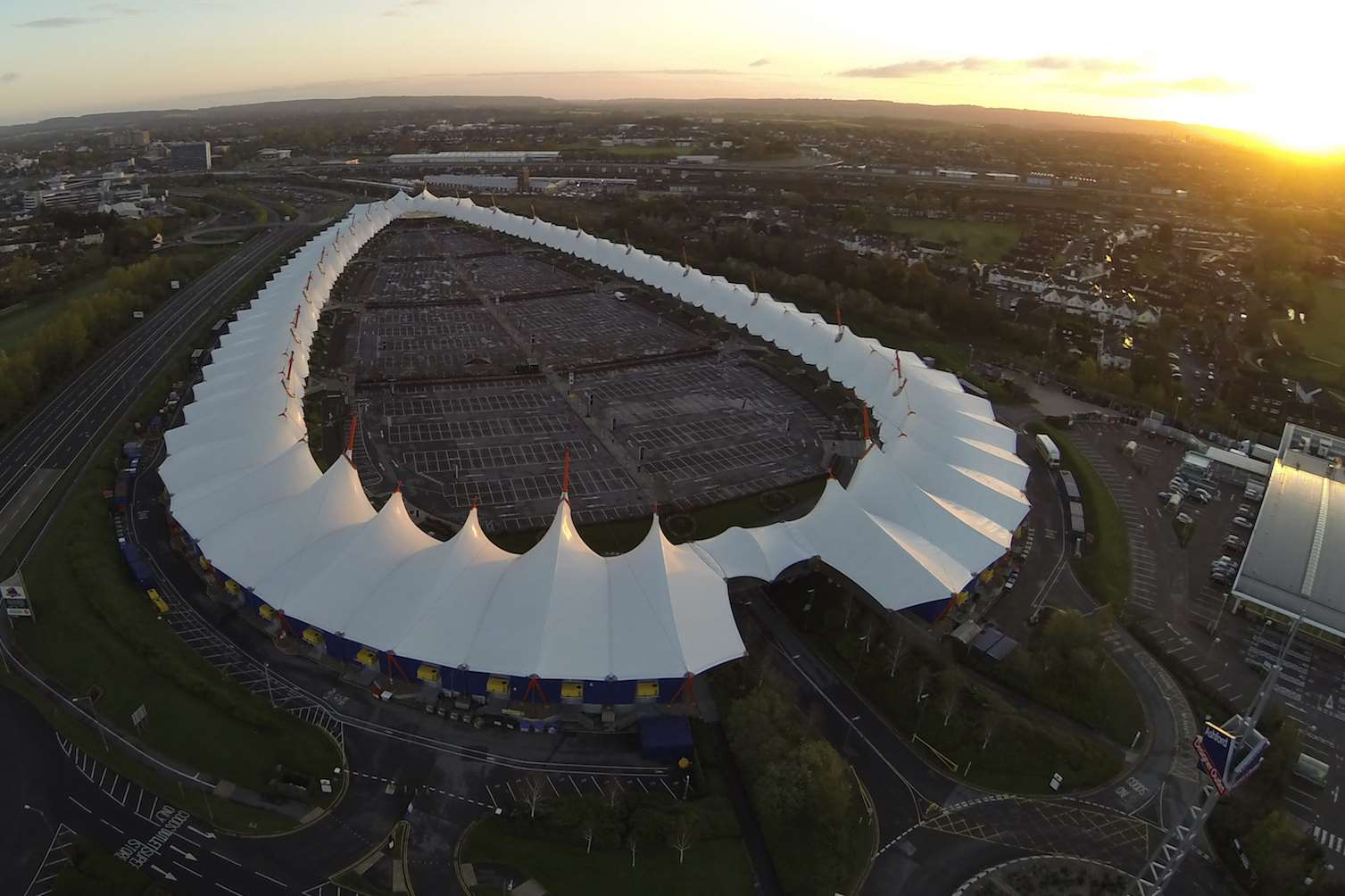 An aerial shot of the Ashford Designer Outlet. Picture: Dean Morse