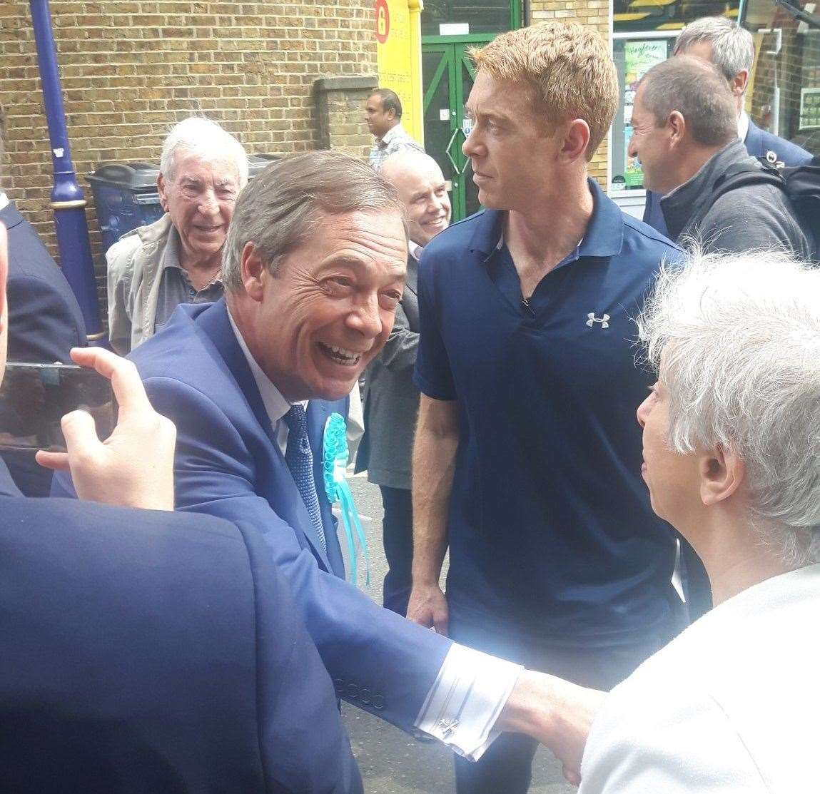 Nigel Farage meeting supporters in Dartford